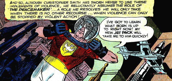 Christopher Smith devient le Peacemaker. Notez la ressemblance du casque avec celui, plus tardif, de Orion dans la série New Gods.