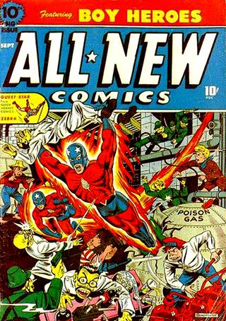 """Le Red Blazer devenu """"Captain Red Blazer"""" sur les couvertures d'All-New Comics, avec un nouveau costume..."""