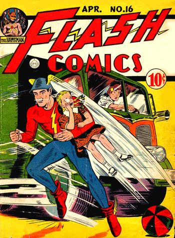 Flash Comics #16, avec Hawkman en médaillon...