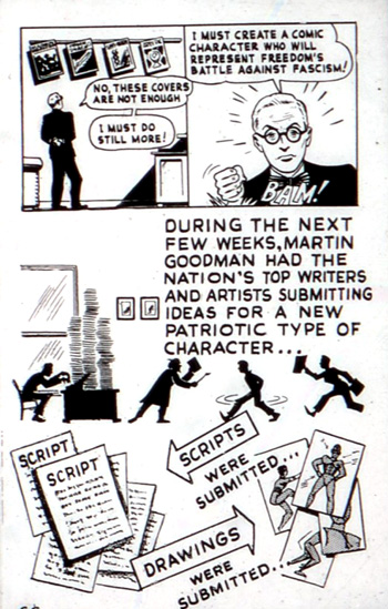 Comment, en 1947, Martin Goodman était présenté comme initiateur de Captain America, les vrais créateurs étant présentés comme des silhouettes sombres et anonymes.
